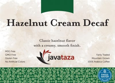hazelnut cream decaf coffee swiss water processed