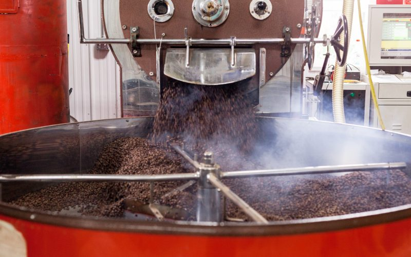 20 farm to cup coffee coffee emptying from roaster