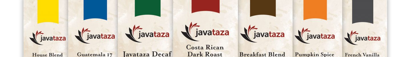 row of gourmet coffee bags from javataza